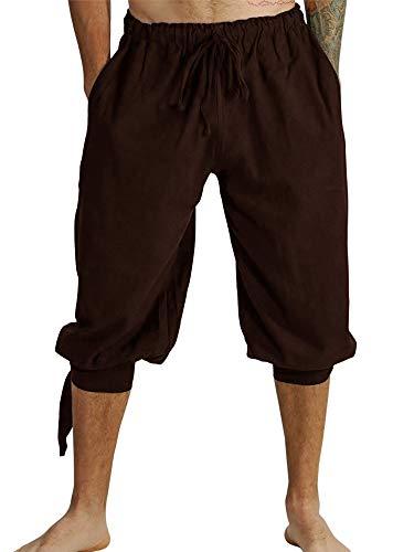 Herren Kurz Hose Pluderhose Mit Schnürung Sommer Hose Wikinger Pirat Mittelalter Vintage Kostüm Casual Freizeit Hose Strand Shorts für Männer, A-Braun, M