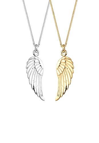 Elli Halskette Damen Partnerkette Friends Flügel Bi-Color in 925 Sterling Silber
