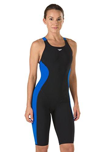 Speedo Women's Swimsuit One Piece Power Plus Kneeskin Solid Adult Team Colors, Black/Sapphire, 26