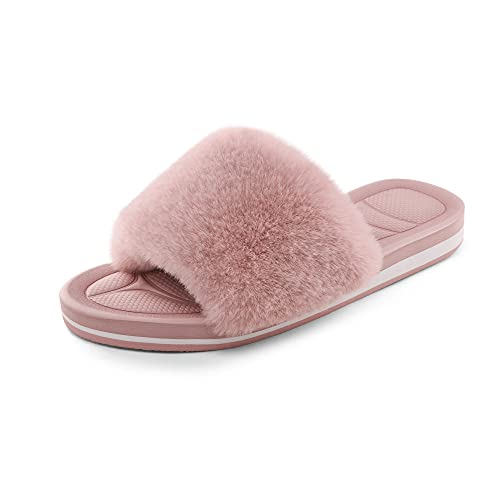 DREAM PAIRS Women's Dsl219w Fuzzy House Slippers Fluffy Fur Slides Open Toe Size 12, Pink