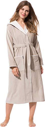 Morgenstern Bademantel für Damen aus Baumwolle mit Kapuze in Sand Bade Mantel wadenlang Damen Bademantel Frottee Größe L Leonie