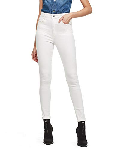 G-STAR RAW Damen Skinny Jeans Kafey Ultra High Skinny Wmn Skinny, White C267-110, 33W / 34L