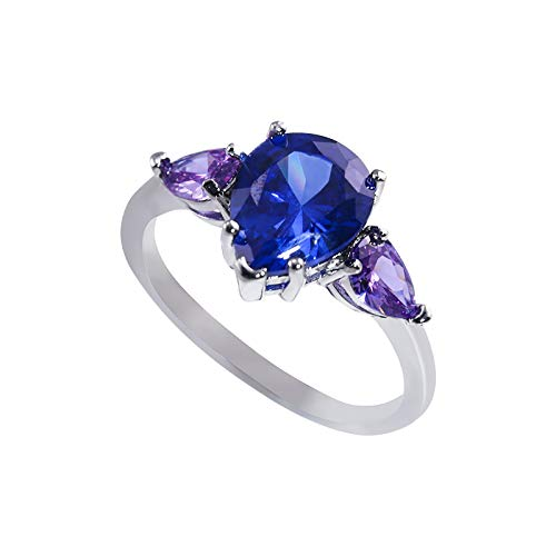 Pear-Shaped Drop Inlaid Rings Blue Purple Zircon Ring Simulated Diamond Rings Wedding Propose Jewellery , Anniversary Wedding Gift for Her (Blue,8)