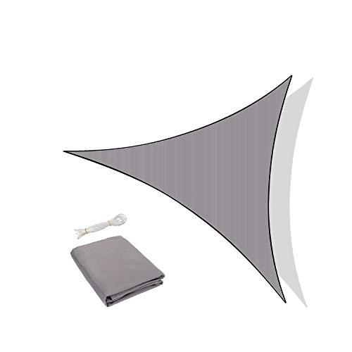 Sunnylaxx Voile d'ombrage Triangulaire 5 x 5 x 5 mètres, imperméable et résistante, pour Jardin terrasse, Couleur Gris