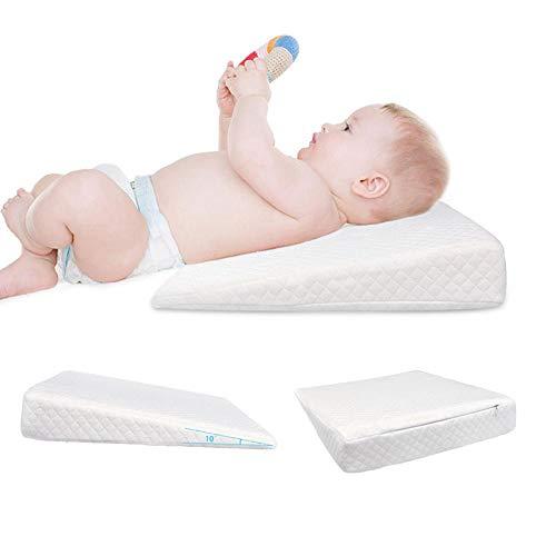 Hete-supply Oreiller de Mise en Forme en Forme de Pente Oreiller Anti-Reflux de Lait, Coussin Amovible en Coton à résilience de mémoire, pour Un Sommeil de bébé, 36 32 7cm