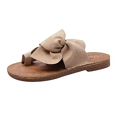 Zapatillas Casa Chanclas Sandalias Sandalias Casuales con Lazo para Mujer, Zapatillas Planas, Zapatos De Playa, Zapatos De Color Sólido-Khaki_41