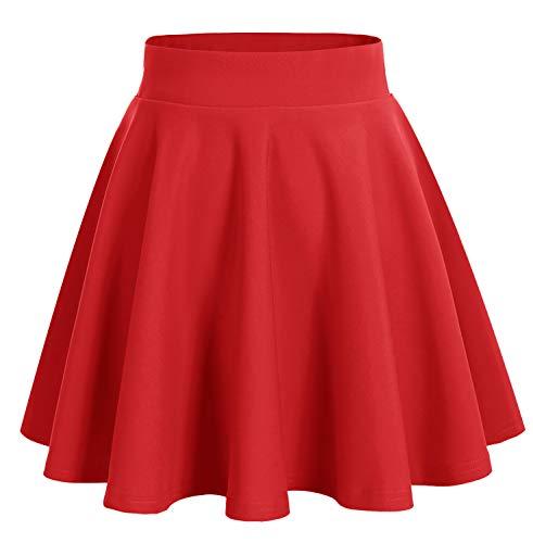 DRESSTELLS Jupe Mini Courte évasée en Polyester, Rouge S