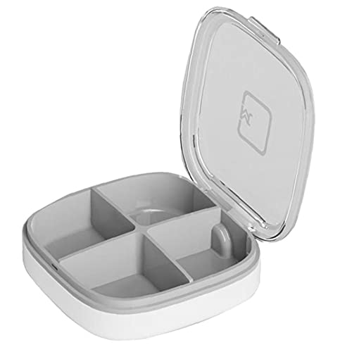 AtheMeet Caja de Pastillas portátil Viajes vitaminas contenedor removible 4 Compartimentos Organizador Gris