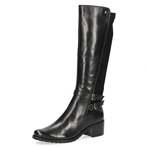 CAPRICE Damen Stiefel, Freizeit leger Boots lederstiefel Reitstiefel Reiterlook weiblich Lady Ladies feminin elegant Women,Black Comb,40 EU / 6.5 UK