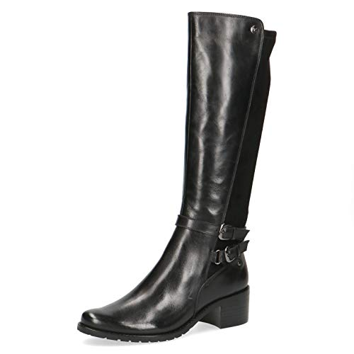 CAPRICE Damen Stiefel, Women's Woman Freizeit leger Boots lederstiefel Reitstiefel Reiterlook weiblich Lady Ladies feminin,Black Comb,39 EU / 6 UK