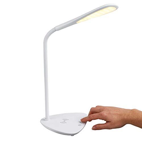 LED bureaulamp met inductief laadstation voor smartphone draadloos wit (inductie oplader, wireless bedlamp, touch-functie, timer)