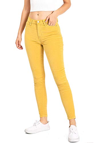 Celebrity Pink Jean Women's Juniors High Rise Ankle Skinny Pants (7, Gold Corduroy)