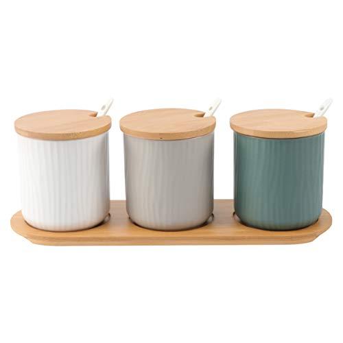 UPKOCH Gewürzdose, Keramik, Gewürztöpfe mit Deckel, Löffel, Holz-Serviertablett für Zuhause Küche 9.5 * 28.5cm Picture 1