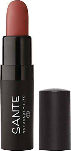 SANTE Naturkosmetik Lipstick Mat Matt Matte Lippenstift, 06 Blissful Terra Braun, Matt-Effekt, Intensive Farbpigmentierung, 4,5g