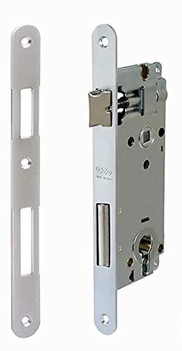 Serratura AGB Patent Grande FORO YALE F50 Q8 finitura (CROMATO OPACO) frontale 18 mm. BORDO TONDO.