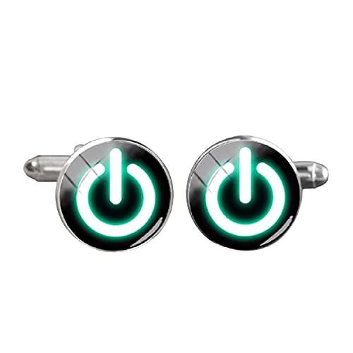 Botón de encendido redondo puño enlace en apagado color puro botón gemelos alta calidad joyería camisa brazalete accesorio