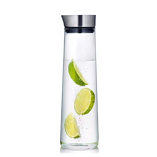 PIVFEDQX Glass Water Carafe with Stainless Steel Lid, 1000ml Glass Water Pitcher Heat Resistant Glass Water Jug Bottle for Water, Milk, Juice, Iced Tea