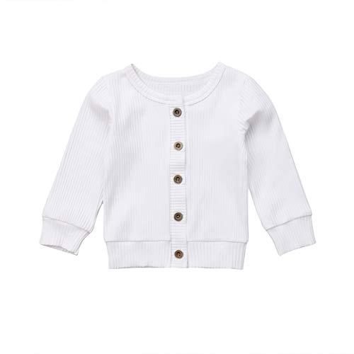 Loalirando Baby Mädchen Strickjacke Frühling Jacke Cardigan mit Knöpfen (0-3 Monate, Weiß)