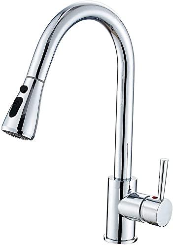 Heable Rubinetto cucina allungabile con cromo girevole a 360°, rubinetto cucina 2 modalità con bocca alta ad arco, rubinetto lavello in ottone, rubinetto lavello monocomando