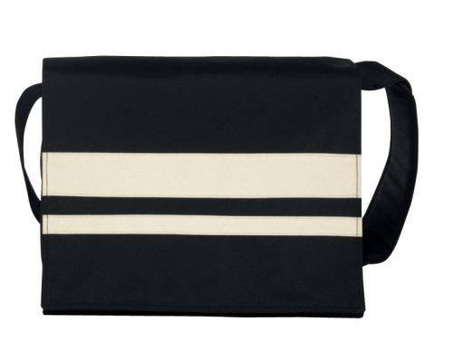 BagyMANIA Courierbag YB 190017 nylon, ca. 38 x 34 cm, zwart/wit.