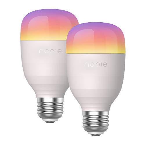 Nooie Bombilla LED Inteligente E27 10W, Bombilla WiFi con multicolor de luz ajustable tiene luz calida y RGB, Funciona con Alexa Google Home, 16 Millones de Colores 800 Lúmenes 2 unidades