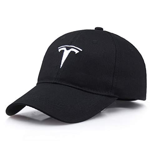 Interestingcar Baseball Cap Adjustable Men Women Car Logo Black Baseball Cap Adjustable Hat (Fit T-es-la Black)