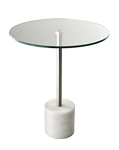 Adesso End Table Blythe Beistelltisch, Stein, Steel/White Marble
