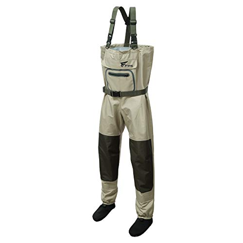 8 Fans Breathable Chest Wader for Men Stocking Foot 3-Ply 100% Durable and Waterproof Insulated Fishing Chest Waders for Fly Fishing,Duck Hunting, Kayaking for Men and Women(Khaki, Large)