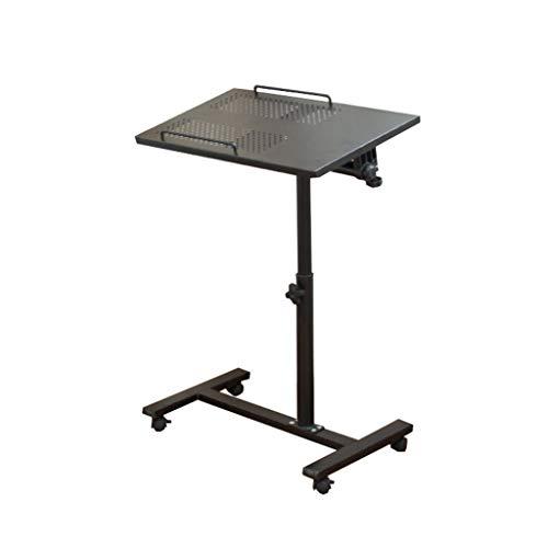 SZQ-Lapdesks - Mesa auxiliar para el sofá, la mesa de refrigeración para portátil de hierro blanco y negro, que se puede mover, se puede elevar la mesa multifunción, se puede girar, Panel base de madera., negro, 55*32-63~90cm