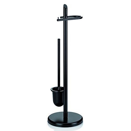 Kela 20542 Set WC Support Papier Toilette + Brosse, Métal Noir, Hauteur 73 cm, 'Ken'