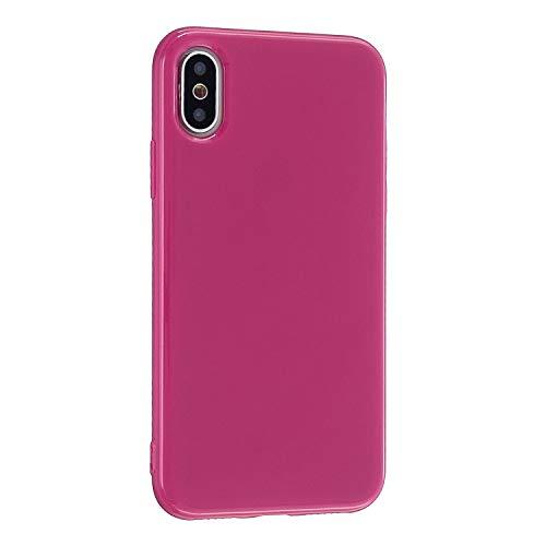CrazyLemon Hülle für iPhone XS Max, Niedlich Volltonfarbe Klar Gelee Design Weich TPU Silikon Slim Dünn Handyhülle Stoßfest Schutzhülle - Rosenrot