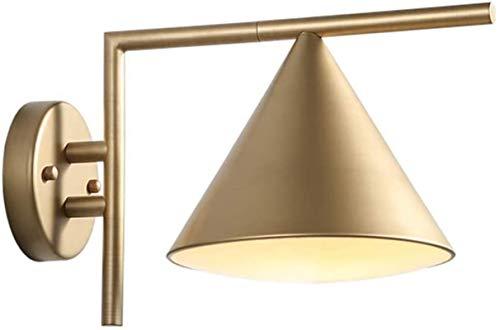 Lámpara de pared Retro Aplique, Luz de pared LED ajustable 5W Lámpara de cama cálida Lámpara de cama interior moderna Simple Simple Acrílico Luz transmisible Tablero Tablero Oro Pintura para hornear L