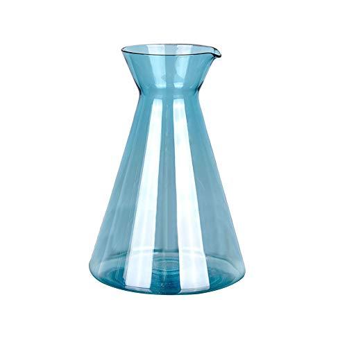 Gespout Vase en Verre Décoration Design Bleu Transparent Simple Style Mariage Banquet Fête Décor Accessoires de Composition Florale Ornements pour Maison Bureau Salon Jardin