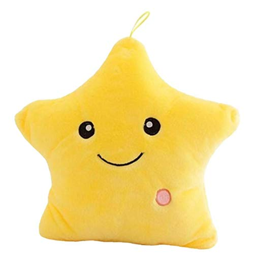 Lankater 1pc Creative Luminous Pillow Stars Stuffed Plush Toy Glowing Led Light Colorful Cushion Birthday Gifts Toys for Kids Girls