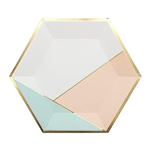 Vajilla desechable hexágono rosa vajilla desechable set de papel plato de paja taza rosa verde menta para decoración de cumpleaños de boda suministros de fiesta (Color: B)