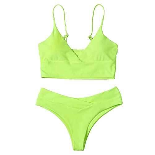 MUGE LEEN, Conjunto de Bikini Sexy de 2 Piezas para Mujer, Traje de baño Push Up con Cuello en V, Traje de baño sólido de Cintura Alta, Traje de baño para Mujer, Amarillo Verde