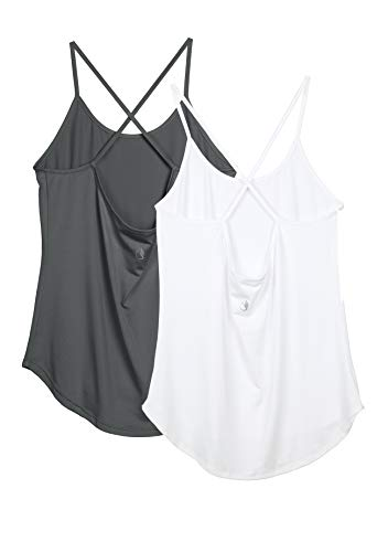 icyzone Sport Tank Tops voor Dames, 2-Pack Trainings Tank Fitness Yoga Shirts