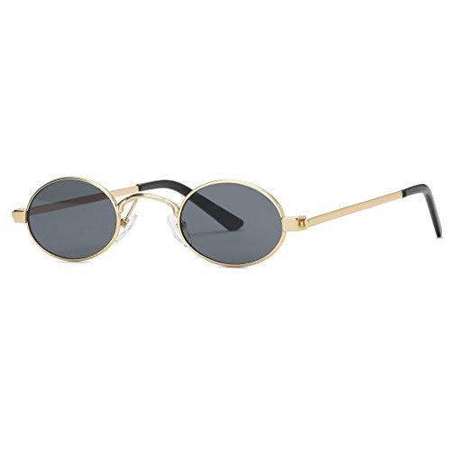 kimorn Sonnenbrille Kleine Runde Metallrahmen Oval Bonbonfarben Unisex Gläser K0577 (Gold&Schwarz)