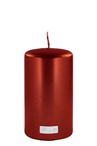 Fink Stumpenkerze - Metallic rot getaucht Brenndauer ca 80 Stunden H 15 cm D 8 cm