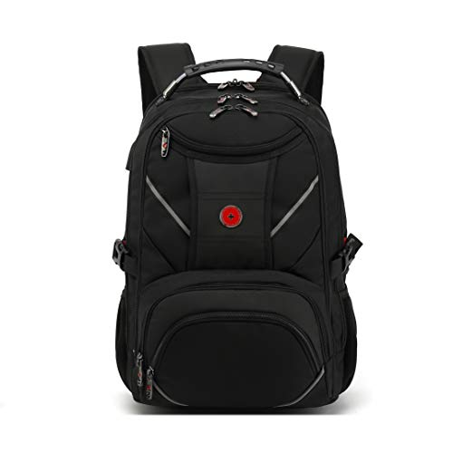 Drappers Black Label Backpack-Anti-Theft-Business-Computer- Water Resistant Extra Large Work USB Charging Audio Port Bag College High School Rucksack 17 Inch Notebook for Boys Men Women – Black