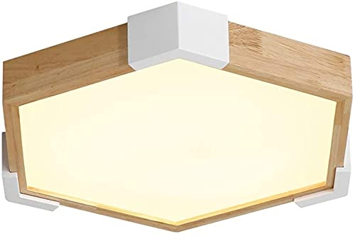 Luz de techo LED Cocina Cocina Nórdica de madera Luz de techo, Lámparas de techo de acrílico geométrico creativo moderno Luz LED Restaurante Sala de estar Habitación Lámpara de techo interior