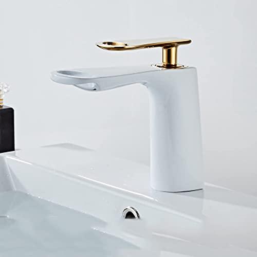 DJPP Faucet Cuarto de Baño Latón Cascada Cuarto de Baño Faucets Sola Manejo Hot Hot Frío Agua Mezcla Grifo Protección Ambiental Grifo Ahorro de Agua,Dorado Blanco