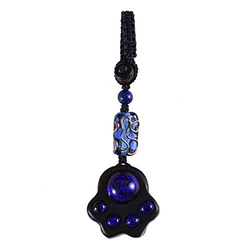 HYLR Llavero, Forma de Pata de Gato de Cielo Estrellado, sándalo y Material de Esmalte de Colores, Piedra de la Suerte, Hermoso, empaque de Caja de Regalo Keychains