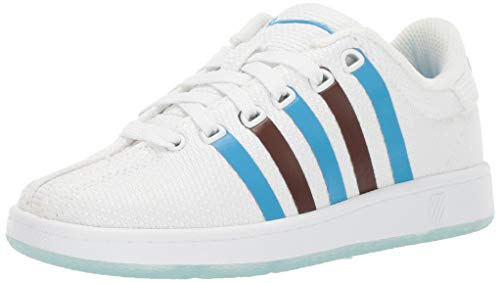 K-Swiss Unisex-Kid's Classic VN Clouds and Dirt Slipper, White-Brown-Blue, 12 M US Little Kid