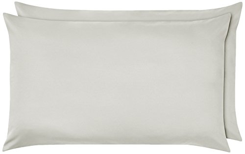 Amazon Basics - Funda de almohada de microfibra, 2 unidades, 50 x 80 cm - Gris claro