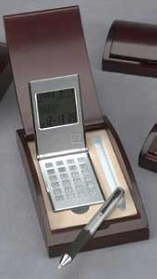 鮫どきどき見えない電卓/時計W / PENIN木製ボックス。