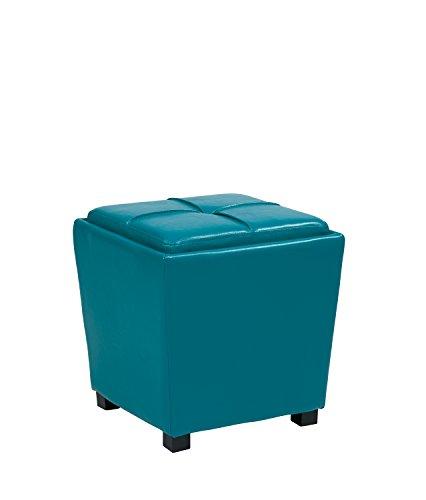 Office Star Metro Vinyl 2-Piece Storage Ottoman Nesting Cube Set with Dark Espresso Finished Feet, Blue