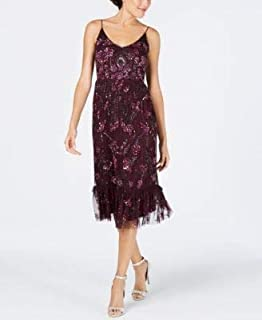 ADRIANNA PAPELL Womens Purple Embellished Spaghetti Strap V Neck Midi A-Line Dress US Size: 2