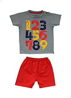 Jockey Number Print Short Sleeves Crew Neck T-shirt with Plain Shorts for Boys - Dark Grey and Red, 6-9 Months