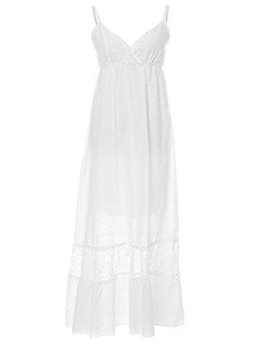 ANNA-KACI Damska regulowana sukienka w stylu boho, koronka, biała, dekolt w kształcie litery V, bez rękawów, długa sukienka